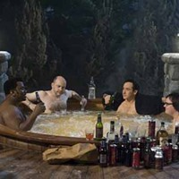 A WHOLE NEW WHIRL: Nick (Craig Robinson), Lou (Rob Corddry), Adam (John Cusack) and Jacob (Clark Duke) land themselves in hot water in Hot Tub Time Machine. (Photo: Paramount)