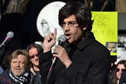 DANIEL J. SIERADSKI - Aaron Swartz in 2012 protesting against Stop Online Piracy Act (SOPA)