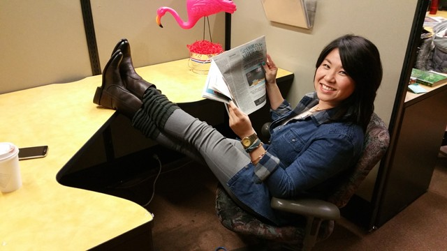 Amy Chiou kicks back in one of our cubicles.