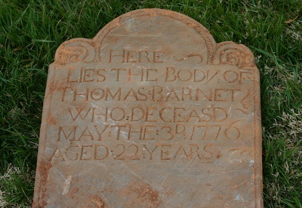 An 18th-century tombstone discovered beneath Mercy during the 2007 renovation
