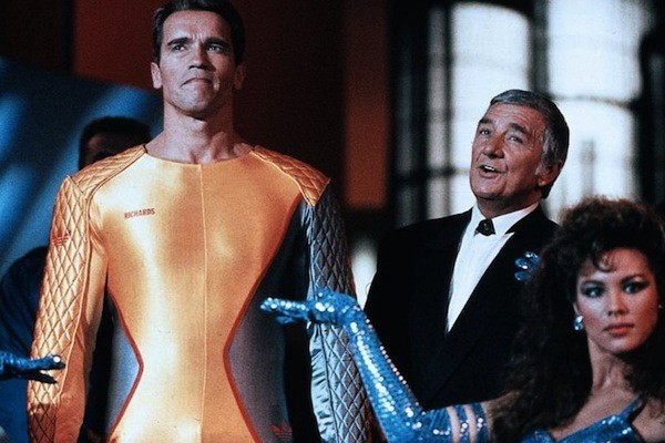 Arnold Schwarzenegger and Richard Dawson in The Running Man (Photo: Olive Films)