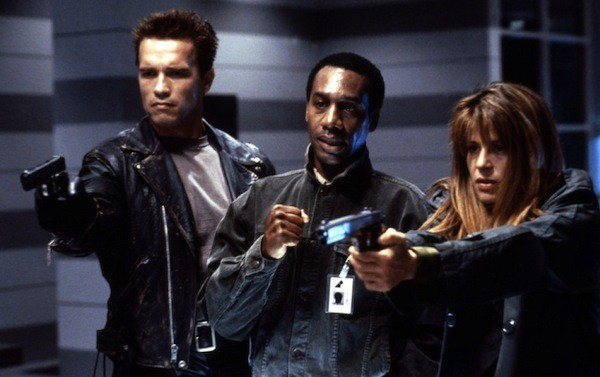 Arnold Schwarzenegger, Joe Morton and Linda Hamilton in Terminator 2: Judgment Day (Photo: Warner Bros.)