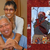 At left, Bernard and Shirley Kinsey. Right, 'The Boss,' by Bisa Butler, is featured in the Kinsey Collection.