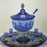 Baccarat punchbowl and tray on view at Mint Museum Uptown.