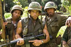 MERIE WEISMILLER WALLACE / DREAMWORKS LLC - BAND OF BROTHERS: Alpa Chino (Brandon T. Jackson), Tugg Speedman (Ben Stiller) and Kirk Lazarus (Robert Downey Jr.) are ready for action in Tropic Thunder.