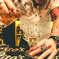 Bar manager Andy Maurer pours an Eye For An Islay, one of the new drinks on Soul's fall cocktail list.