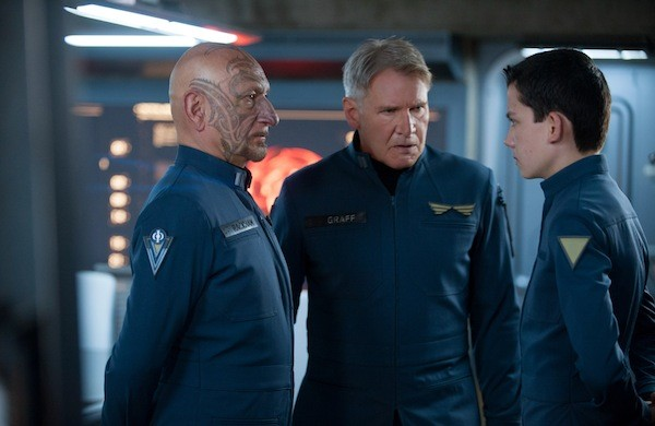 Ben Kingsley, Harrison Ford and Asa Butterfield in Ender's Game (Photo: Summit)
