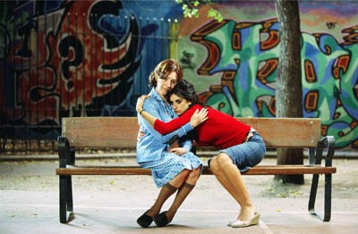 BENCH PRESS Raimunda (Penelope Cruz, right) finds comfort in the arms of her mother (Carmen Maura) in Volver. - EMILIO PEREDA & PAOLA ARDIZZONI / EL DESEO & SONY PICTURES CLASSICS