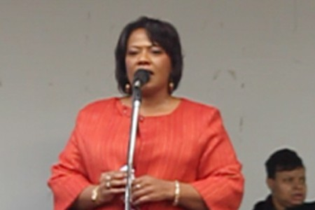 Bernice King at yesterdays MLK Day rally in Atlanta