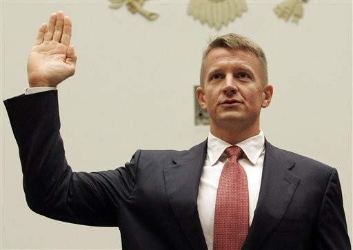 Blackwater honcho Eric Prince, swearing in before a Congressional committee investigation
