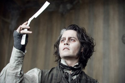 BLADE RUNNER: Sweeney Todd (Johnny Depp) lets his fingers do the stalking in Sweeney Todd: The Demon Barber of Fleet Street. - LEAH GALLO / DREAMWORKS & WARNER BROS.