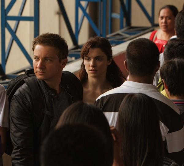 BOURNE TO RUN: Aaron (Jeremy Renner) and Marta (Rachel Weisz) evade their pursuers in The Bourne Legacy. (Universal)