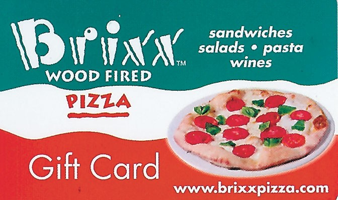 Brixxs Pizza - Gift Card- Brixx gift cards make a perfect - gift for everyone: one size fits all, any dollar amount. Quantity discounts available. Ask how you can win $1,000 Brixx gift card. - Dilworth: 704-347-2749. Birkdale: 704-894-0044. South Park: 704-295-0707. Blakeney: 704-940-2011. Open late Monday-Saturday until 1 a.m, Sunday until 11 p.m. - www.brixxpizza.com - Credit cards accepted