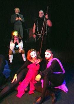 Cast of Bare Bones Theatre Group's The Illusion. -