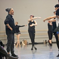 Charlotte Ballet's resident choreographer Dwight Rhoden works with dancers for his upcoming Contemporary Fusion piece.
