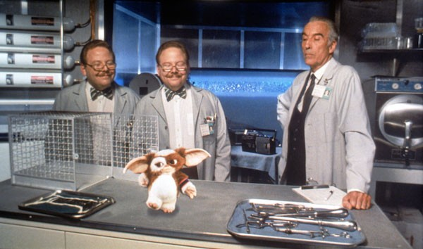 Christopher Lee (right) in Gremlins 2: The New Batch (Photo courtesy Warner Bros.)