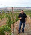 Col Solare winemaker, Marcus Notaro, in his young cabernet vineyards