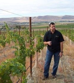 TAYLOR EASON - Col Solare winemaker, Marcus Notaro, in his young cabernet vineyards