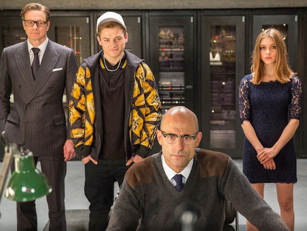 Colin Firth, Taron Egerton, Mark Strong and Sophie Clarkson in Kingsman: The Secret Service (Photo: Fox)