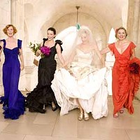 COLOR COORDINATED: Here comes the bride (Sarah Jessica Parker, second from right) and her friends (Cynthia Nixon, Kristin Davis and Kim Cattrall) in Sex and the City.