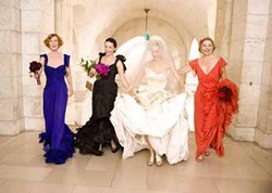 CRAIG BLANKENHORN / NEW LINE CINEMA - COLOR COORDINATED: Here comes the bride (Sarah Jessica Parker, second from right) and her friends (Cynthia Nixon, Kristin Davis and Kim Cattrall) in Sex and the City.