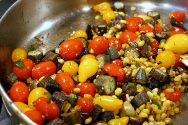 Corn, Tomato, and Okra Sauté