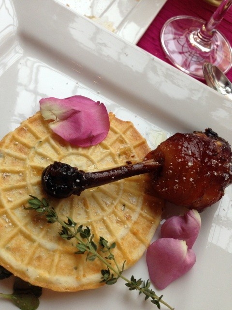 Course 3 from Something Classics David Clarke: Lavender chicken and waffles
