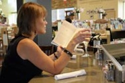 CATALINA KULCZAR - Courtney Kim reading and sipping at Bronte Bistro