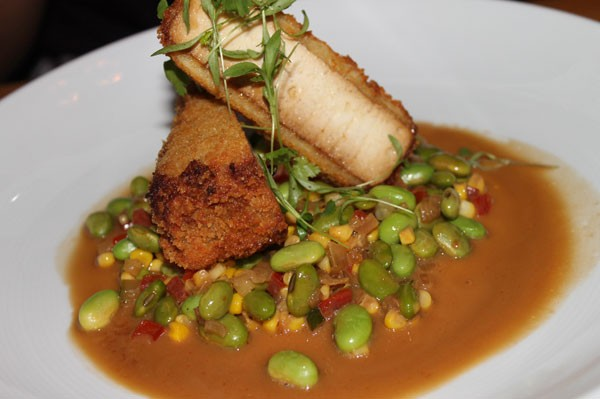 CRISPY MARINATED TOFU with edamame succotash, pea greens, yuzu soy emulsion