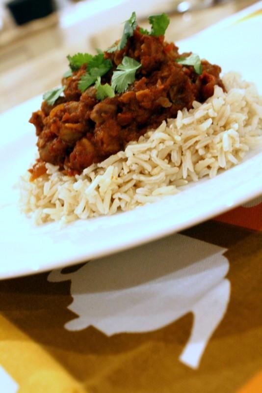 Crockpot Chana Masala with Brown Basmati Rice