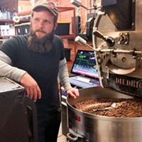 David Stein shows off Boquete Mountain's roasting process and equipment.