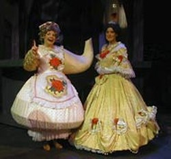 MICHAEL VANCE - Deborah Rhodes as Mrs. Potts and Danyelle Bossardet as - Belle in Charlotte Summer Theater's production of - Beauty and the Beast