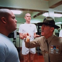 DEBRIEFING FOR DOUGHNUTS: Vincent D'Onofrio and R. Lee Ermey in Full Metal Jacket, included in the Stanley Kubrick Collection