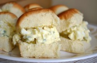 Mini healthy egg salad sandwiches
