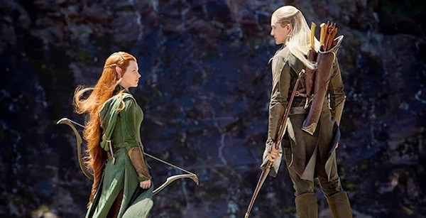 Evangeline Lilly and Orlando Bloom in The Hobbit: The Desolation of Smaug (Photo: Warner Bros.)