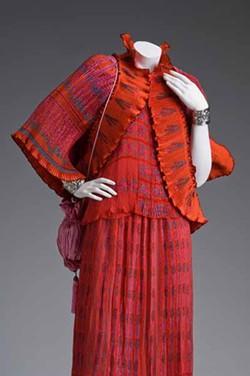 GIFT OF KIMBERLY KYSER - EVENING GOWN ENSEMBLE: By Zandra Rhodes (1940-), circa 1980-1985; silk, silk chiffon and silk satin