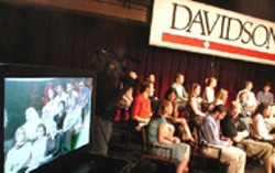 FACE TO FACE Davidson students got a dose of - reality, and reality TV, during a spirited dialogue  with - Iraqi citizens via  satellite hookup. -