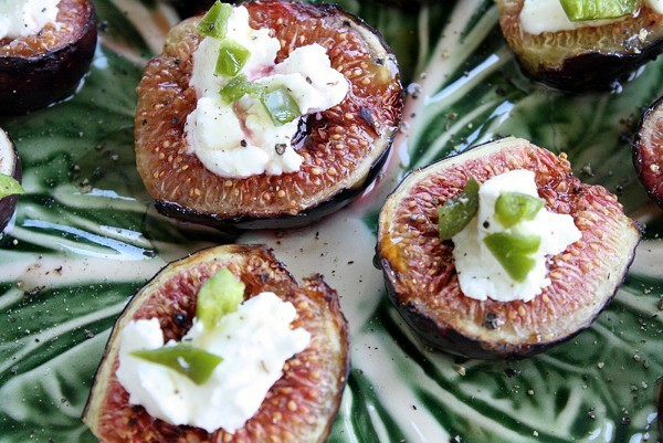 Figs with Goat Cheese and Jalapeños