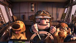 DISNEY/PIXAR - FLYING ACES: Dug, Carl and Russell take to the skies in Up.