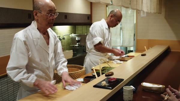 FOODIE FAMILY: Jiro Ono (left) and his son Yoshikazu in Jiro Dreams of Sushi - MAGNOLIA PICTURES