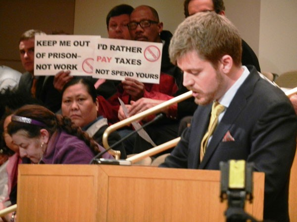 Former Charlotte School of Law student Isaac Sturgill speaking at the Feb. 25 council meeting. - COURTESY OF THE CHARLOTTE SCHOOL OF LAW'S CIVIL RIGHTS CLINIC