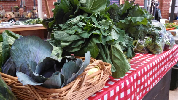 (from left to right) Cabbage, collards and kale from Rowlands Row