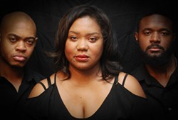 COURTESY LEGACY THEATRE - (from left to right) Travis Thompson, Kenya Phifer-Jones, Jonathan Caldwell in Blood Ties