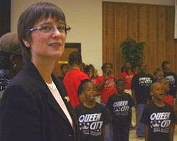 GANGBUSTERS: Rev. Fran Cook at a recent presentation about gangs in Charlotte at Little Rock A.M.E. Zion Church - KATIE WILLIAMS