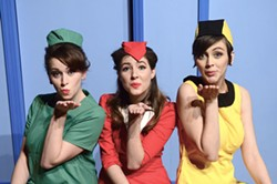 DONNA BISE/DONNA BISE PHOTOGRAPHY - GGG: Gabriella (Katie Bearden), Gloria (Mandy Kendall) and Gretchen (Karina Roberts-Caporino) are good, giving and game in Boeing Boeing.