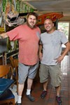 <p>GONE SURFING: K.C. Terry (left), with Krazy Fish co-owner Giorgio Prisco</p>