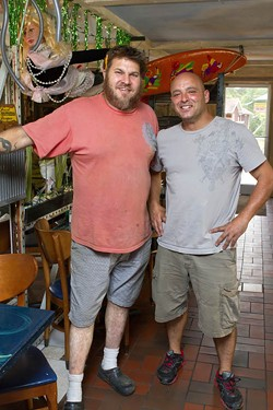 ANGUS LAMOND - GONE SURFING: K.C. Terry (left), with Krazy Fish co-owner Giorgio Prisco