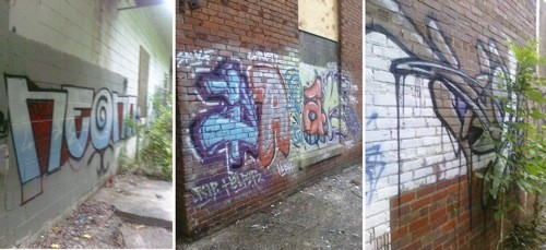 Graffiti at Mecklenburg/Johnston Mills, Noda. Image courtesy — Marcus Kiser.
