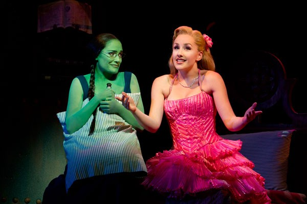 GREEN WITH ENVY: Christine Dwyer as Elphaba and Jeanna de Waal as Glinda in Wicked