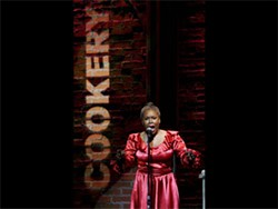 Gretha Boston portrays the octogenarian jazz sensation Alberta Hunter in Cookin' at the Cookery at Booth Playhouse through January 29